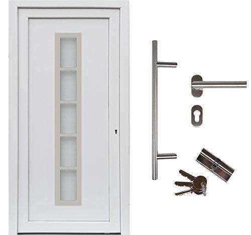 kuporta Kunststoff Haustür Merida Türen 108 x 200 cm DIN links weiß mit Stoßgriff-Set