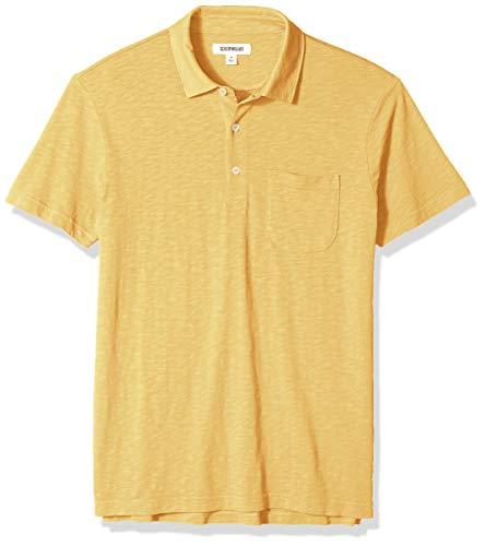 Amazon Brand - Goodthreads Men's Short-Sleeve Lightweight Slub Polo Shirt, gold, Large