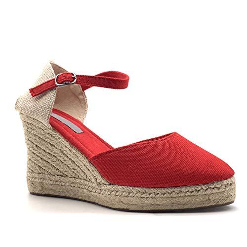 Angkorly - dames schoenen sandalen espadrilles - Folk/Ethnisch - Bohemen - romantisch - met stro - gevlochten - Basic wig hak 9 cm