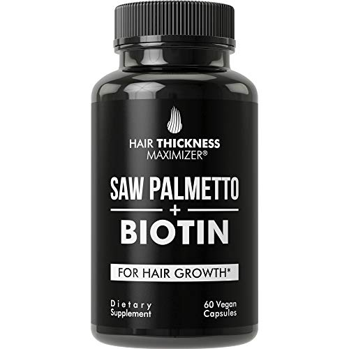 Saw Palmetto + Biotin Advanced 2-in-1 Combo for Hair Growth. Vegan Capsules Supplement with Natural Saw Palmetto Extract + 10000mcg Biotin. Hair Loss and Regrowth Pills for Men and Women. DHT Blocker