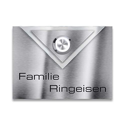 Elegante roestvrijstalen LED-deurbel in envelop design - antraciet RAL 7016 modern roestvrij staal