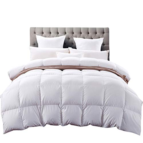 C&W Queen Size Goose Down Comforter,Heavywarmth Winter,Down Duvet Queen,1200 TC-100% Cotton Cover,750 Fill Power,50 oz Fill Weight,White Solid