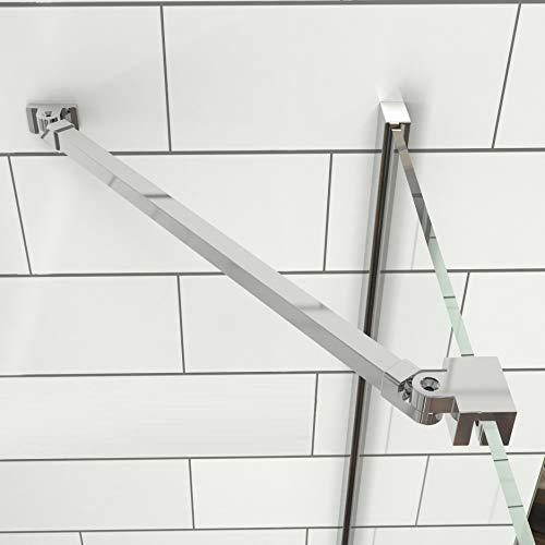 Meykoers Haltestange für Duschwand Stabilisator mit Winkel 180°drehbar flexibel 500mm für Glasstärke 5-6mm, Stabilisierungsstange für Dusche Walk-in Duschwände - Edelstahl + Aluminium