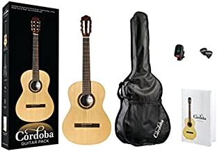 Cordoba CP100 Guitar Pack Classical Acoustic Nylon String Guitar, Protégé Series, with Standard Gig Bag