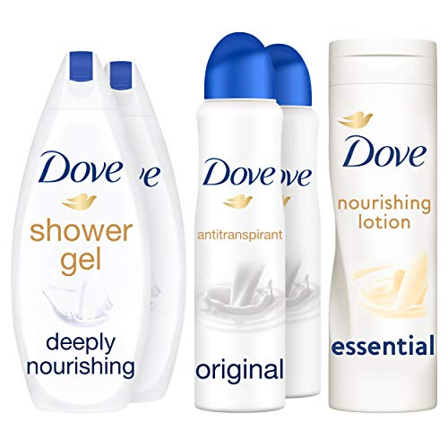 Dove Original Geschenkset - Douchegel, Anti-transpirant Deodorant Spray, Body lotion Cadeaupakket