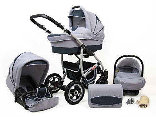 Polbaby Kinderwagen Largo,3 in 1 -Set Wanne Buggy Babyschale Autositz mit Zubehör Silver