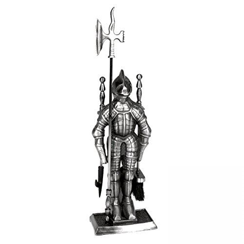 Kaminbesteck Modell Ritter aus Gusseisen in Edelstahl Optik - 3-teilig