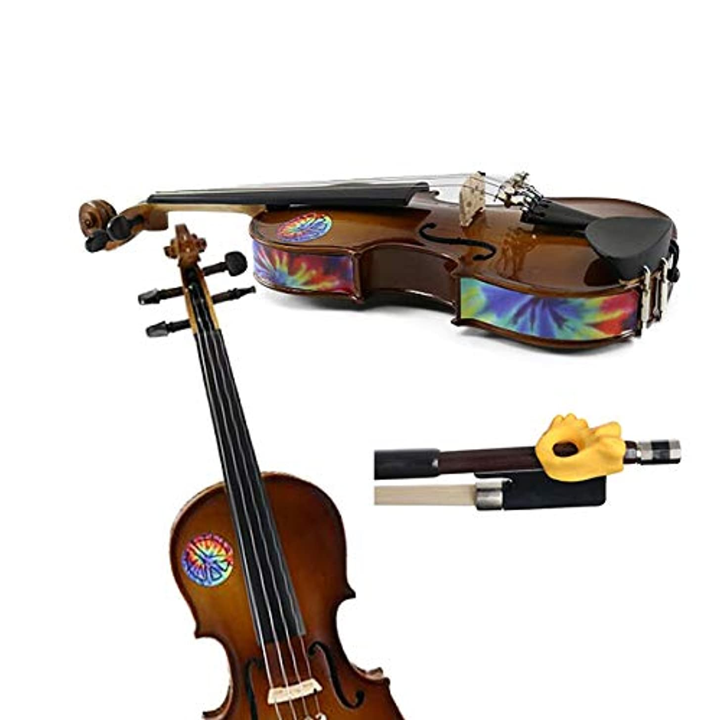 Violin Teaching Aid Pack - Hold Fish Violin Yellow Pinky Support w/Tie Die Violin Skins - Removable Violin Decals - Fits 1/2 Size Violins (Violin not included)