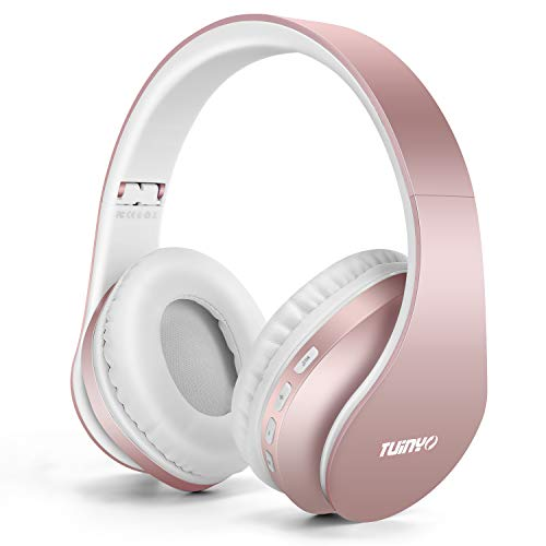 Bluetooth Headphones,Tuinyo Wireless Headphones Over Ear with Microphone, Foldable & Lightweight Stereo Wireless Headset for Travel Work TV PC Cellphone-Rose Gold