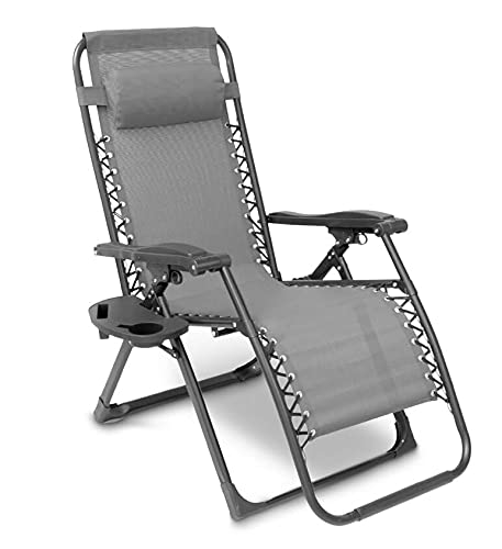 Sun Lounger Garden Chairs with Cup and Phone Holders, Zero Gravity Reclining Beach Sun Lounger, Heavy Duty Outdoor Deck Folding Chair (1, Grey)