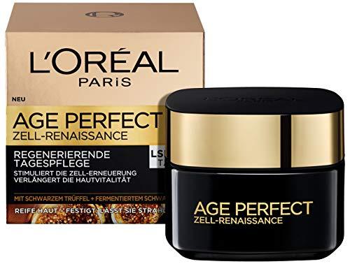 L'Oréal Paris Age Perfect Zell-Renaissance Anti-Aging Gesichtscreme LSF 15, Anti-Falten Tagespflege mit schwarzem Trüffel und Schwarztee, stimuliert die Zell-Erneuerung reifer Haut, 50ml