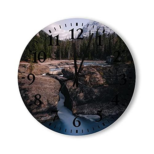 Reloj de pared de madera rústico con pilas vintage de 15 pulgadas, lagos, ríos, escenas rurales, relojes decorativos de madera para paredes, granja para cocina, dormitorio, baño, sala de estar
