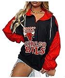 FDRYA Bulls Baloncesto Pullover con Capucha para Mujeres, Sudadera de Baloncesto Abrigo fanáticos de Uniforme Camisetas de Entrenamiento para Casos Informales, camionetas Red-S
