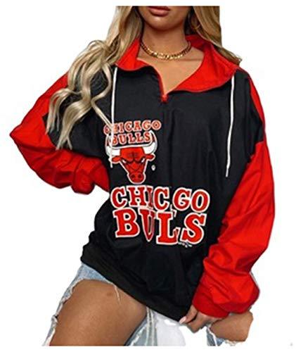 FDRYA Bulls Baloncesto Pullover con Capucha para Mujeres, Sudadera de Baloncesto Abrigo fanáticos de Uniforme Camisetas de Entrenamiento para Casos Informales, camionetas Red-L