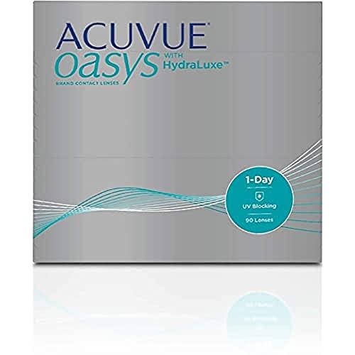 ACUVUE OASYS 1-Day Tageslinsen helfen das Gefühl von müden & trockenen Augen zu reduzieren – Tageskontaktlinsen mit -3,25 dpt und BC 8.5 – UV Schutz & hoher Tragekomfort – 90 Linsen