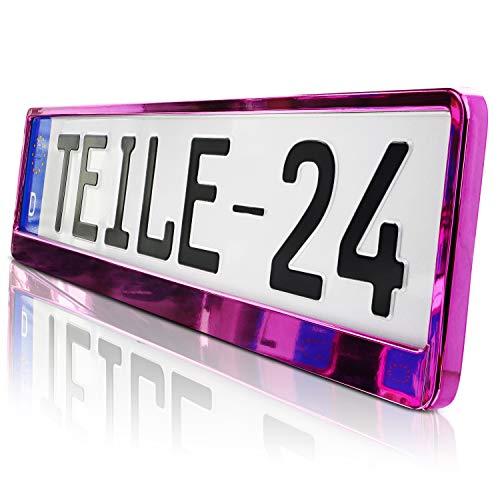 2 x Kennzeichenhalter | PINK | Metallic | Hochglanz | KLAVIERLACK | 520 x 110 | DHL Schnellversand