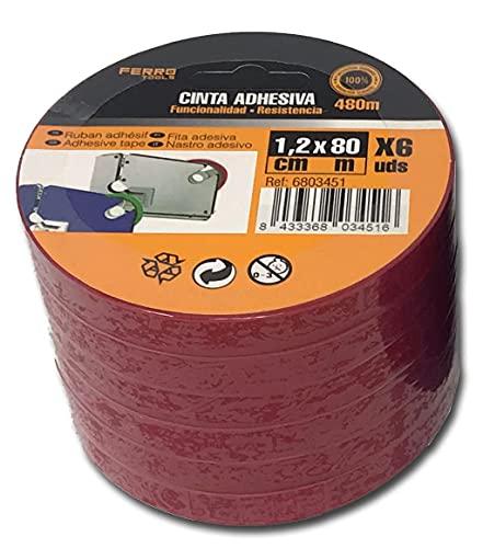 Precinto PVC Cierra Bolsas Color Rojo, 6 Rollos XL 12 mm x 80 Metros Cada Uno, Muy Resistente, Cinta Adhesiva para Cerrar Bolsas y Usos Múltiples