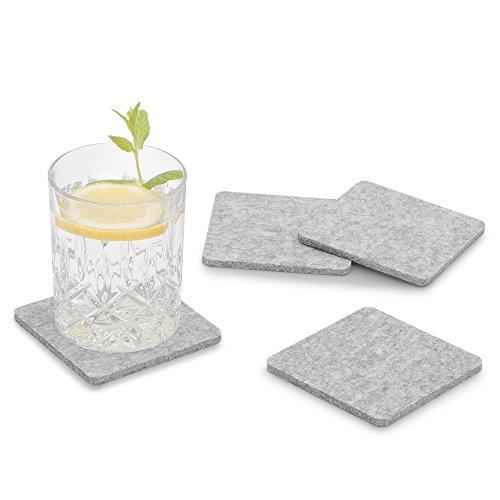 FILU Filzuntersetzer eckig 8er Pack (Farbe wählbar) hellgrau - Untersetzer aus Filz für Tisch und Bar als Glasuntersetzer/Getränkeuntersetzer für Glas und Gläser rechteckig viereckig