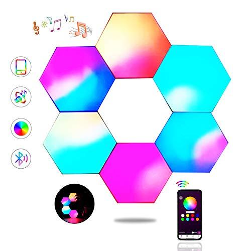 Sechseck Wandleuchte, Smart LED Licht Wandpanel APP Steuerung Musik Sync,16 Millionen Farben Modulares Licht RGB Nachtlicht DIY Geometrie Spleißen Quantum Leuchte für Zuhause Bar Wand Dekor, 6 Stück