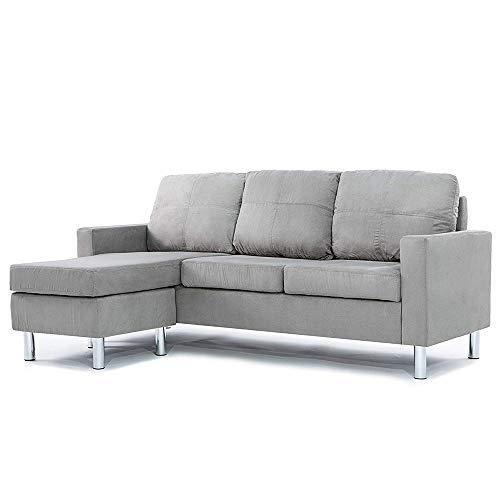 Casa Andrea Milano LLC Modern Sectional Sofa - Small Space Reversible Configurable Couch, Grey Microfiber