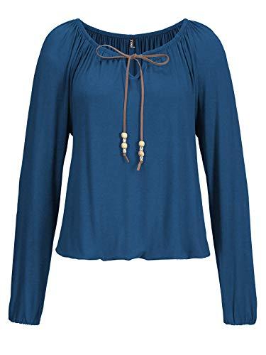 TrendiMax Damen Langarmshirt Rundhals Falten T-Shirt Lose Stretch Blusen Shirt Casual Oberteil Tunika Tops