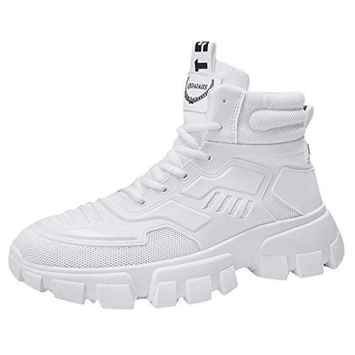 CUTUDE Straßenlaufschuhe Sportschuhe Bequem Ultra-Light Laufschuhe Schnürer Turnschuhe Sneakers Modisch Luftkissenschuhe Atmungsaktive Mesh Tuch Sport Freizeitschuhe (Weiß, 41 EU)