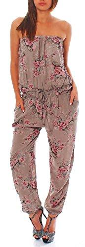 Malito Damen Einteiler geblümt | Overall mit Stoffgürtel | Jumpsuit mit Blumenmuster – Playsuit – Romper 1495 (braun)