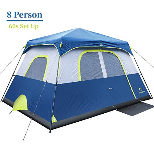 OT QOMOTOP Waterproof Camping Tent, 8 Person 60-Second Set Up Tent, Instant Cabin Tent, Suit for Camping and Scout Travels