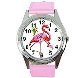 Reloj de cuarzo redondo de cuero rosa para fanáticos de fla