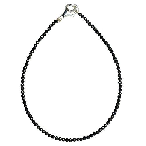 I-be, Schwarzers Spinell Armband tiefschwarz Ø 3 mm, 925 Sterling Silber Karabinerverschluss, Länge 18,5 cm 506603/black/18,5