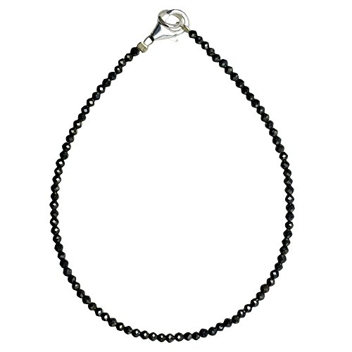 I-be, Schwarzers Spinell Armband Tiefschwarz Ø 2 mm, 925 Sterling Silber Karabinerverschluss, Länge 20 cm 506602/black/20