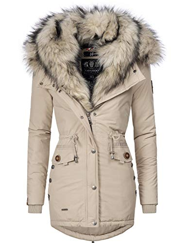Navahoo Sweety Cappotto Invernale Parka Invernale Foderata da Donna 2in1 Beige S