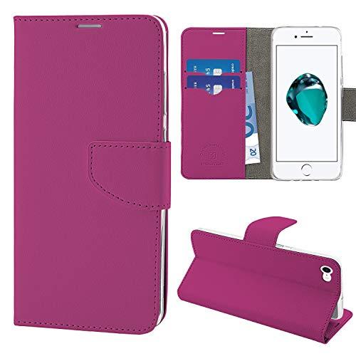 NewTop N Cover Compatibile per iPhone SE 2020/8/8/7/6/6S/Plus, HQ Lateral Custodia Flip Libro Magnetica Portafoglio Simil Pelle Stand (per iPhone 7-8 - SE 2020, Fucsia)