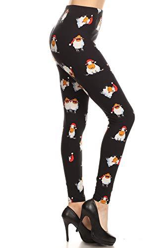 S653-PLUS Christmas Sheep Printed Fashion Leggings, Plus Size