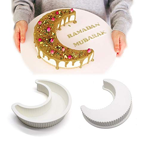 EchoDone Crescent Moon Shape Silicone Cake Pan, Moonlight Sonata Mousse Cake Bread Pizza Baking Mold Kitchen Bakeware Tools