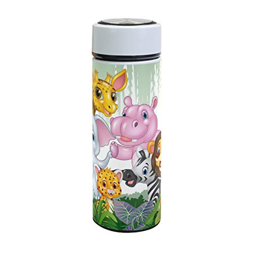 XiangHeFu Sports Waterfles, lekbestendig, houdt je koud of warm, met jungle mooi wild dier cartoon-patroon, geïsoleerde reisbeker 17oz thermoskan