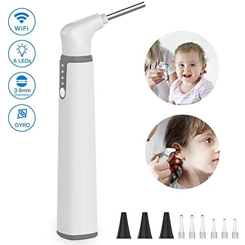 WBaRJ Wireless Otoscope, 3.9mm Ultra-Thin WiFi Ear Scope Camera with Earwax Removal Tool and 6 LED Lights, Ear Cleaner with Tmperature Control and Gyroscope