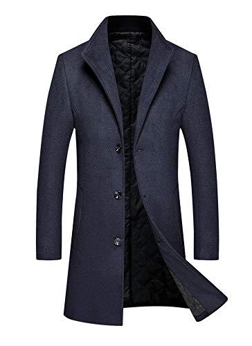 Herfst En Winter Heren Warm Jas Mode Casual Dikke Lange Jas Mannen Mannelijke Zwarte Rode Wijn Navy Grijs