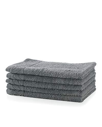 myHomery Handtuch Sets - 100% Baumwolle - Gästehandtücher, Duschtuch, Saunatuch und Badetuch - Elegante Bordüre - 5er-Set Gästehandtücher Anthrazit