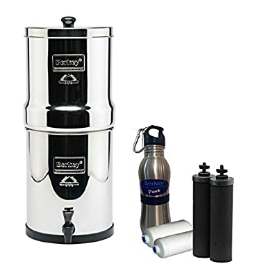 Royal Berkey Water Filter 3 Gallon System Bundle: 2 Black BB9 Filters, 2 Fluoride PF2 Filters, 1 Stainless Steel Water Bottle