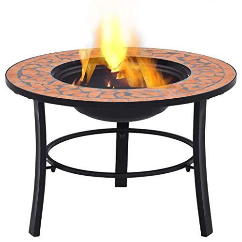 Festnight Mosaik-Feuerstelle Terrakotta 68 cm Keramik Terrassenofen Gartenfeuer Feuerkorb Mit Dreibeinständer