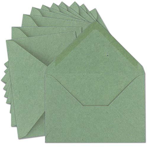 50x Vintage Brief-Umschläge DIN C5 Kraftpapier 120 g/m² - 157 x 225 mm - Eukalyptus-Grün Recycling - Nassklebung Spitzklappe I UmWelt by GUSTAV NEUSER