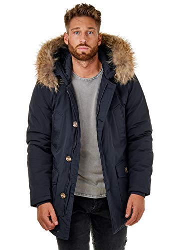 Burocs BR1840 Herren Parka Winter-Jacke Echtfell Schwarz Navy Khaki Hellgrau, Größe:M, Farbe:Navy