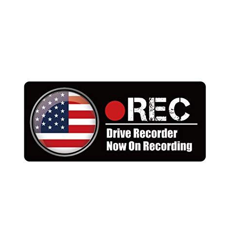 Biijo ドライブレコーダー 防水・耐熱 ステッカー シール ドライブレコーダーシール ドライブレコーダーステッカーあおり運転対策 国旗 (A.アメリカ, 四角(縦75mm×横170mm))