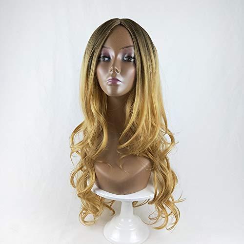 TYV Lady's gradient-gekleurde pruik, grote golvende lange krullend hoofddeksel, comfortabele pasvorm in de ademende