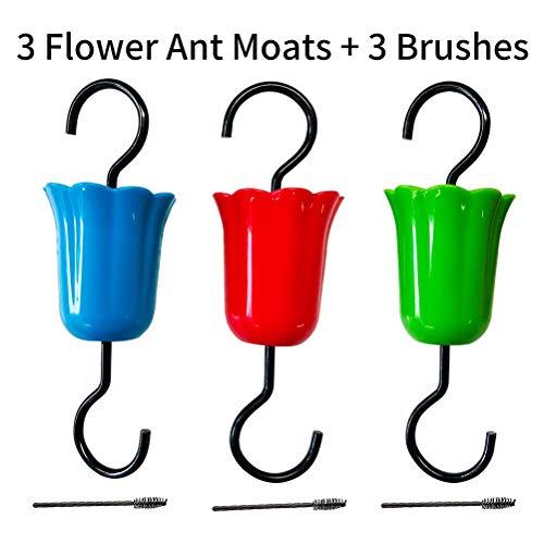 Phayee Blumenameisengraben für Kolibri-Feeder, Bird Feeder Ant Guard Haken,3 Ameisengräben und 3 Bürsten, Futterstationszubehör