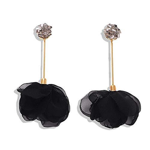 OUHUI Pendientes Hechos a Mano Pendientes de Gota Pendientes de Flor Negra Pendientes de Flores de Malla Femenina para Mujeres Moda/A
