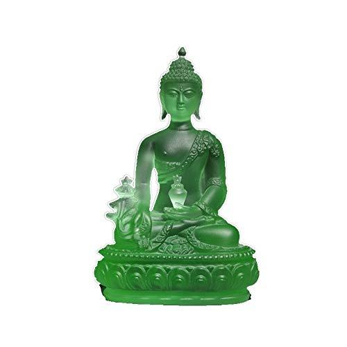 Verre de haute qualité statue de Bouddha sculpture diagramme artisanat de cadeau Statue de Bouddha décoration artisanat décoration à domicile (vert)