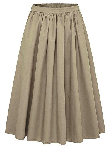 chouyatou Women's Simple Back Elastic Waist A-Line Flared Midi Skirts-Pocket (Small, Khaki)