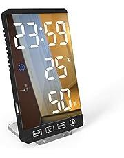 Kecheer Reloj despertador temperatura humedad digital,Termómetro higrómetro con tiempo,Despertadores digitales para hogar/oficina con Pantalla LED